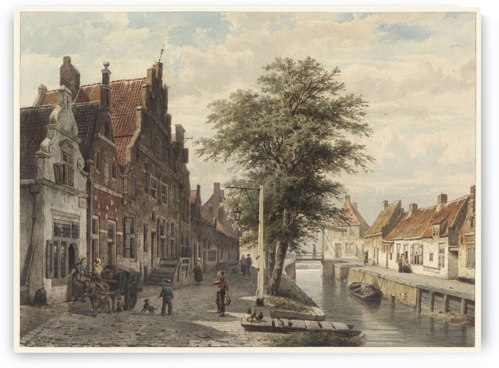 Gezicht op de gracht te Hasselt by Cornelis Springer