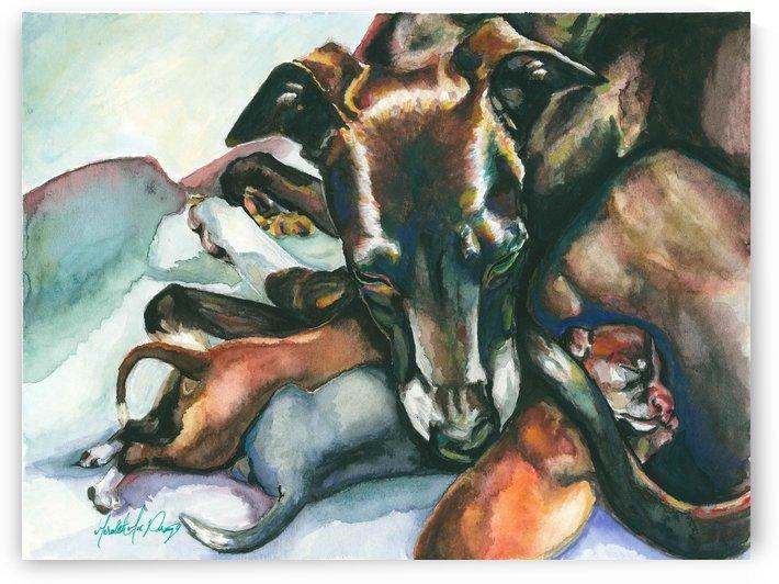 Motherhood Italian Greyhound with Puppies Sighthound art Greyhound art by Meredith Mae