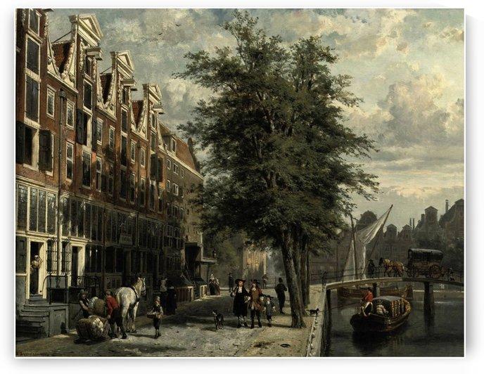 Gezicht op den Leidschegracht naar de Heerengracht te Amsterdam omstreeks het jaar by Cornelis Springer