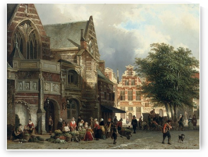 A busy market day in front of the Oude Kerk, Amsterdam by Cornelis Springer