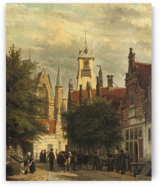 Townspeople and cattle in the Bagijnestraat with the Westerkerk in the background, Enkhuizen by Cornelis Springer