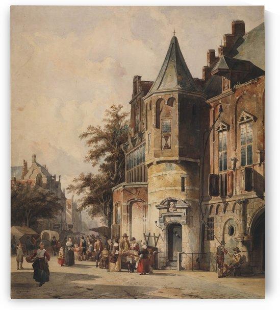 Fantasiestadsgezicht by Cornelis Springer