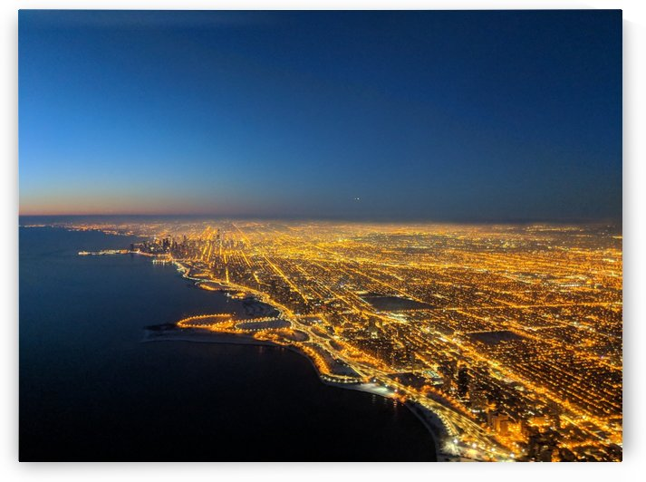 Chicago city lit up at night by Michael Geyer