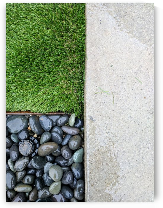 Patterns of grass rocks and concrete by Michael Geyer
