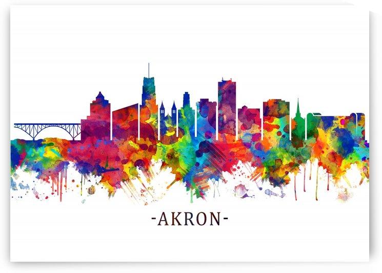 Akron Ohio Skyline by Towseef Dar