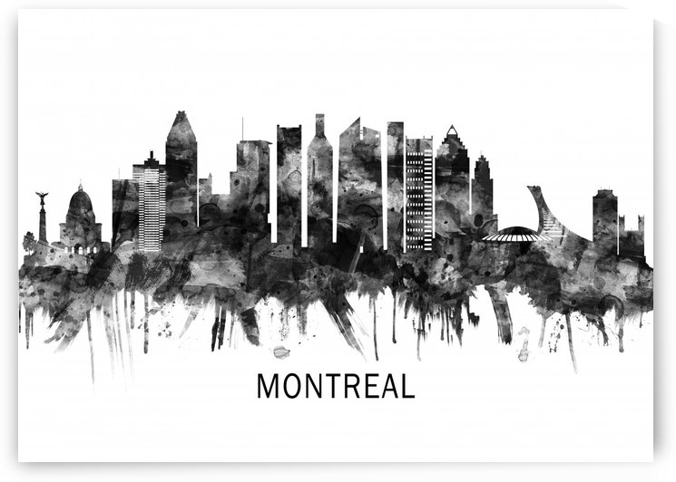 Montreal Canada Skyline BW by Towseef