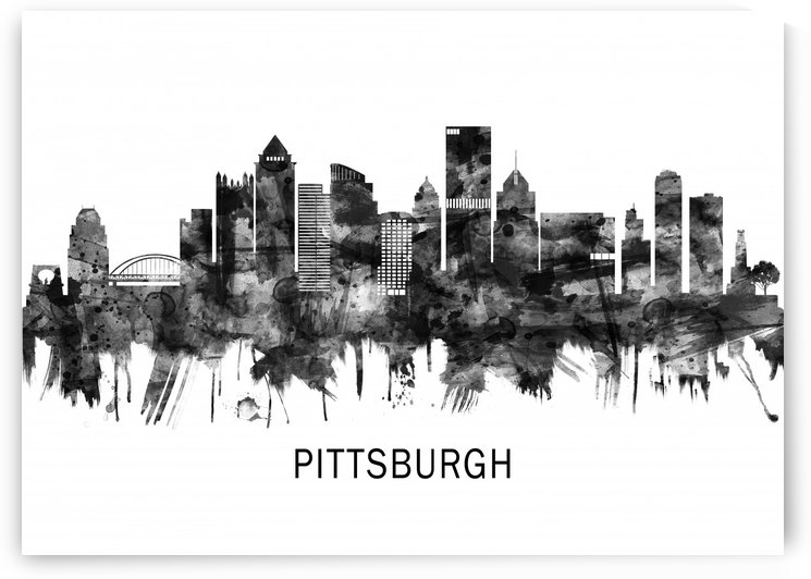 Pittsburgh Pennsylvania Skyline BW by Towseef