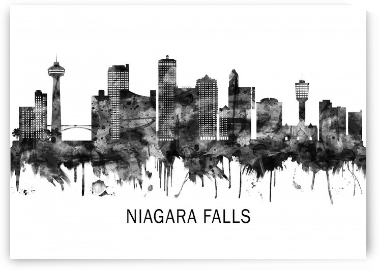 Niagara Falls Canada Skyline BW by Towseef Dar