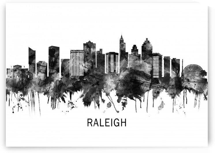 Raleigh North Carolina Skyline BW by Towseef Dar