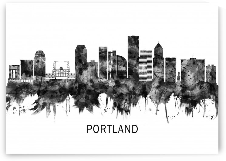 Portland Oregon Skyline BW by Towseef