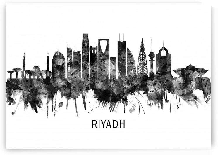 Riyadh Saudi Arabia Skyline BW by Towseef