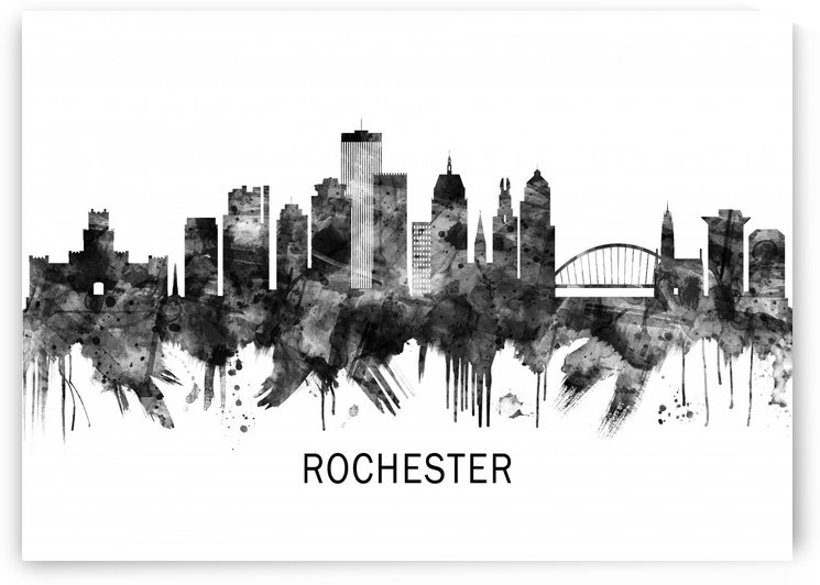 Rochester New York Skyline BW by Towseef
