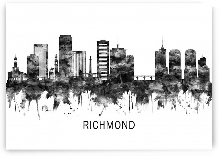 Richmond Virginia Skyline BW by Towseef