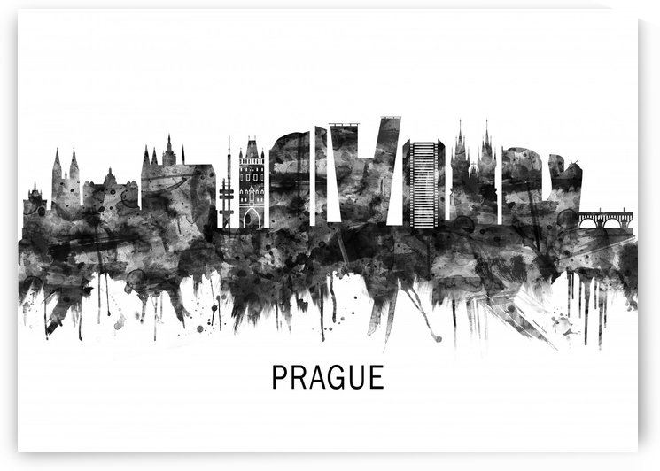 Prague Czech Republic Skyline BW by Towseef