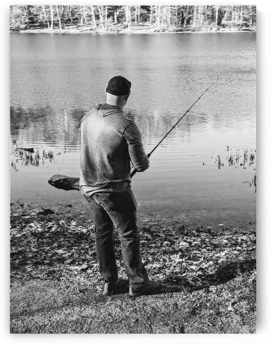 Black and white man fishing by the river by Michael Geyer