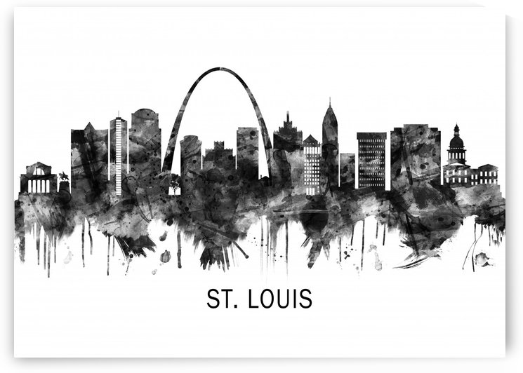 St. Louis Missouri Skyline BW by Towseef Dar