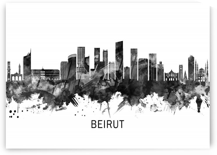 Beirut Lebanon Skyline BW by Towseef