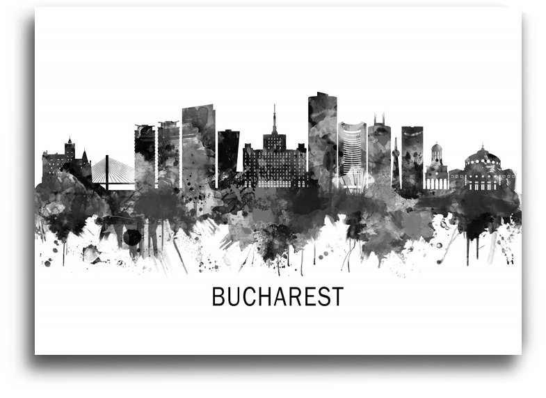 Bucharest Romania Skyline BW by Towseef Dar
