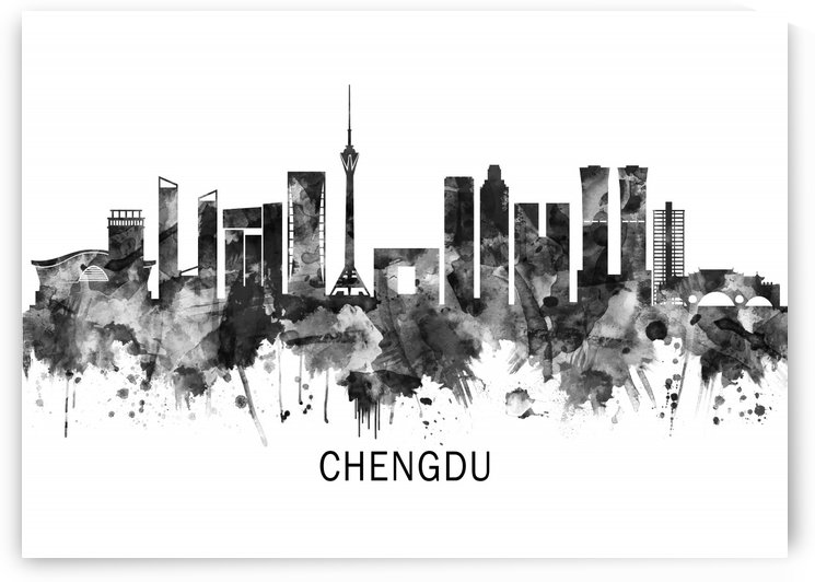 Chengdu China Skyline BW by Towseef Dar