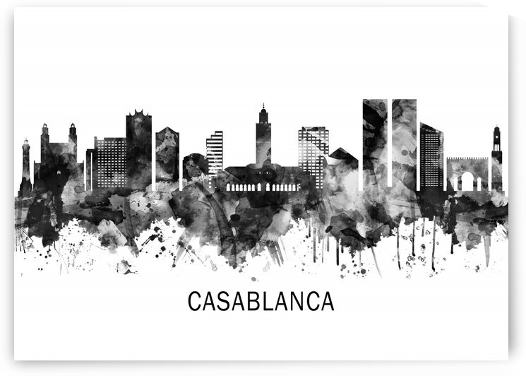 Casablanca Morocco Skyline BW by Towseef