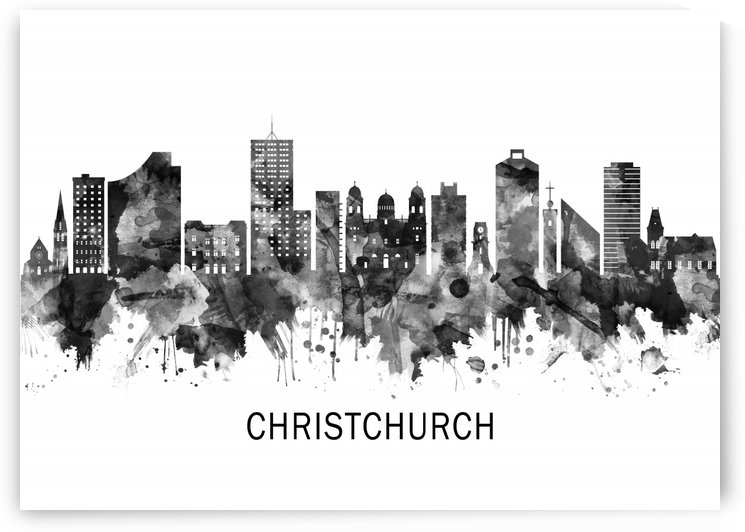 Christchurch New Zealand Skyline BW by Towseef