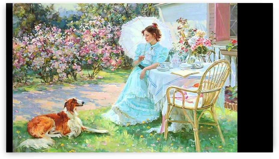 A woman and a dog by Alexander Averin
