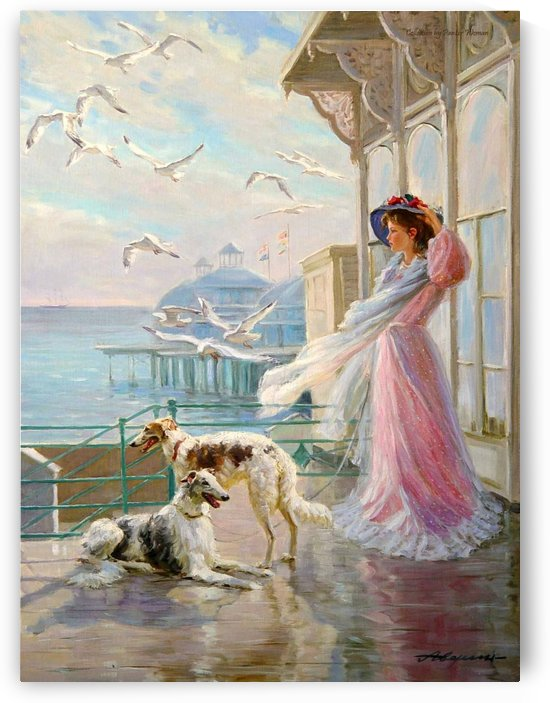 A woman with birds and dogs by Alexander Averin