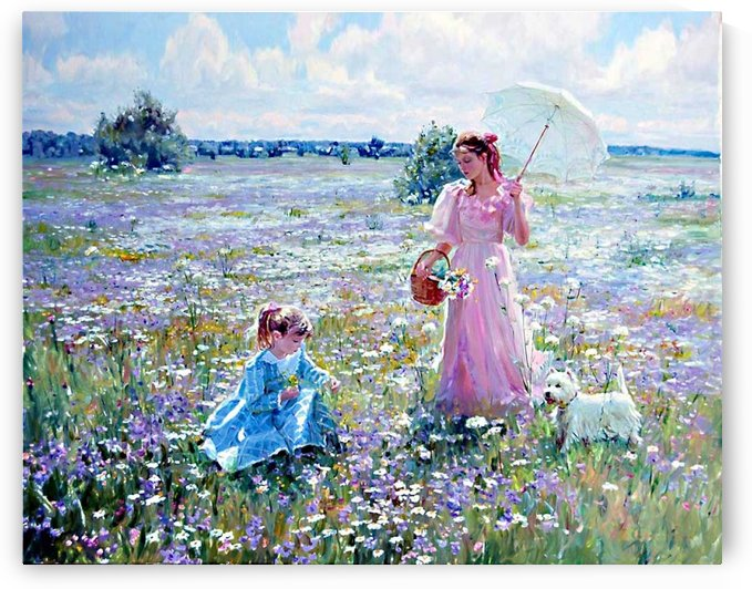 Mother and daughter on a field of flowers by Alexander Averin