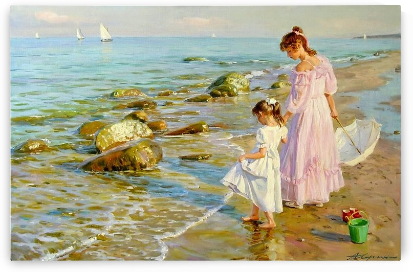 Mother and daughter on the beach by Alexander Averin