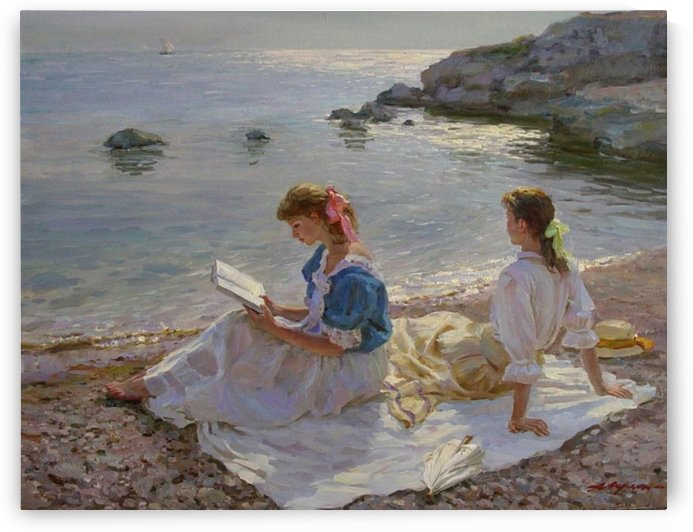 Two women at the seaside by Alexander Averin