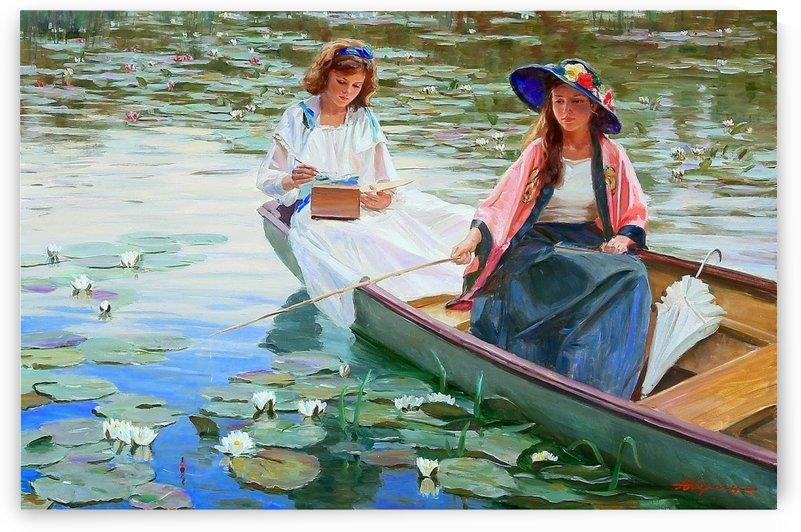 Two women on a boat by Alexander Averin