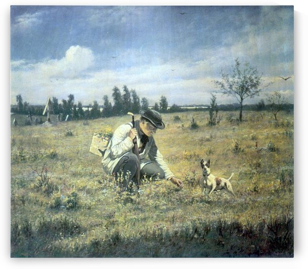 A man and his dog in a field by Vasily Grigorievich Perov