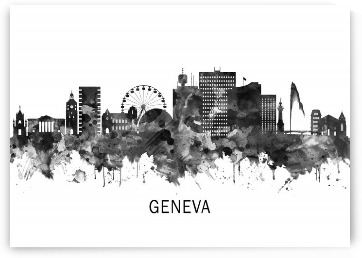 Geneva Switzerland Skyline BW by Towseef Dar