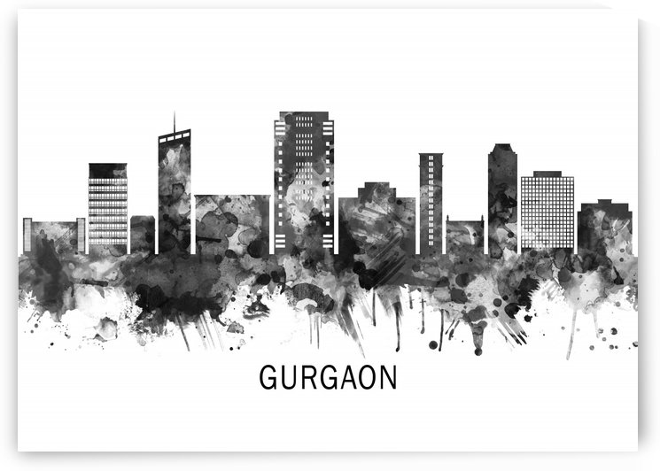 Gurgaon Haryana Skyline BW by Towseef Dar