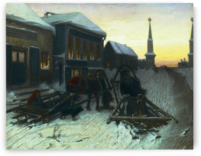 Troika in the city by Vasily Grigorievich Perov