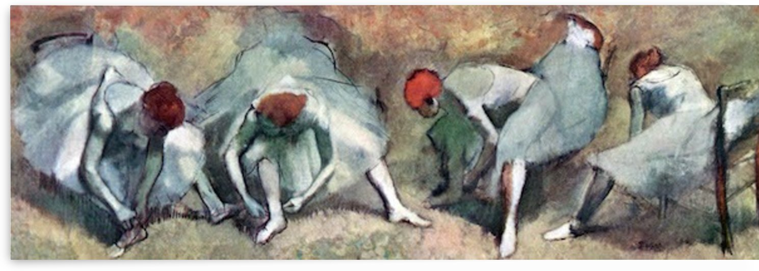 Dancers lace their shoes by Degas by Degas