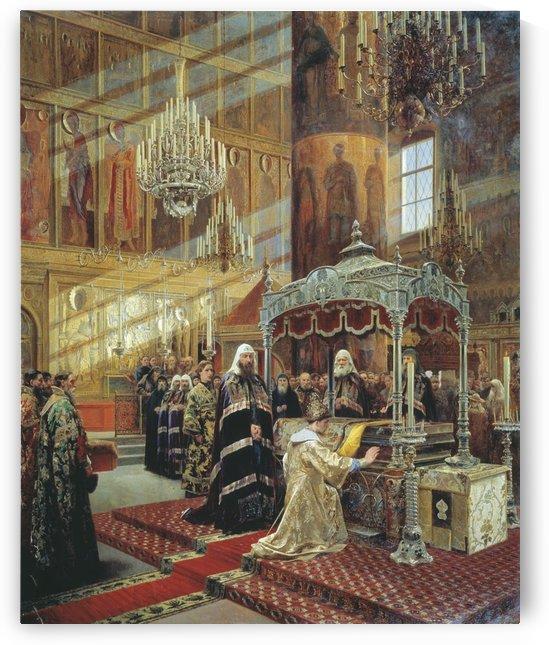 Young Tsar Alexis Praying Before the Relics of Metropolitan Philip by Alexander Dmitrievich Litovchenko