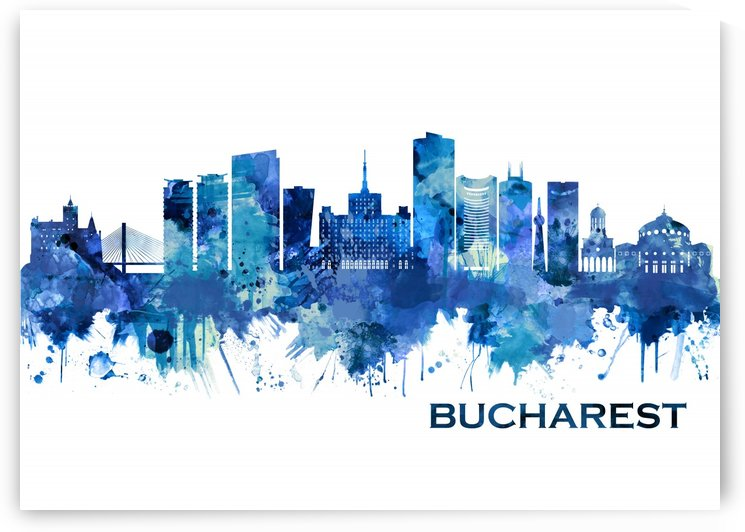 Bucharest Romania Skyline Blue by Towseef Dar