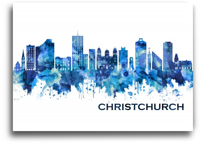 Christchurch New Zealand Skyline Blue by Towseef