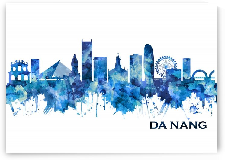 Da Nang Vietnam Skyline Blue by Towseef Dar