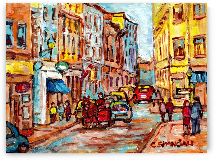CALECHE RIDE OLD MONTREAL MONTREAL SUMMER SCENE by Carole  Spandau