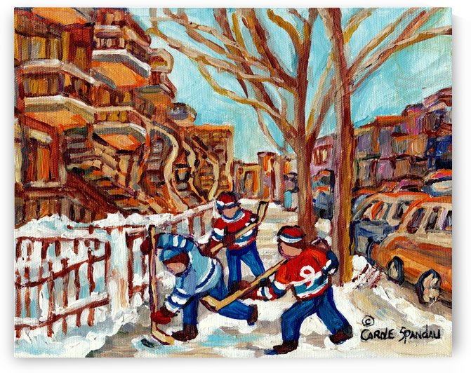 HOCKEY ON DEBULLION MONTREAL WINTER SCENE PLATEAU MONT ROYAL by Carole  Spandau