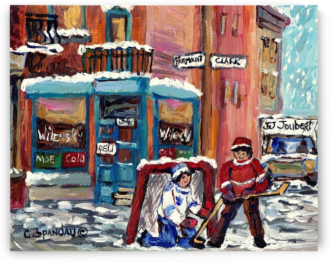 PLATEAU MONT ROYAL DINER RUE FAIRMOUNT AND CLARK WILENSKY AND HOCKEY ART by Carole  Spandau