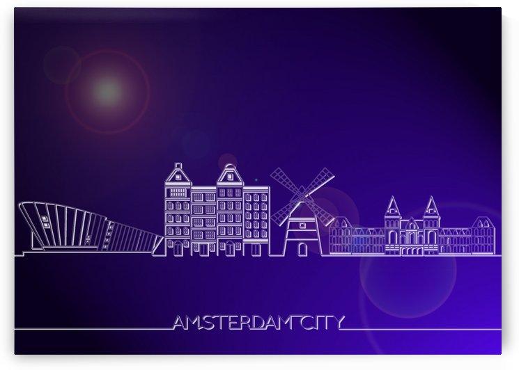 Skyline Bluprint of Amsterdam City by Gunawan Rb