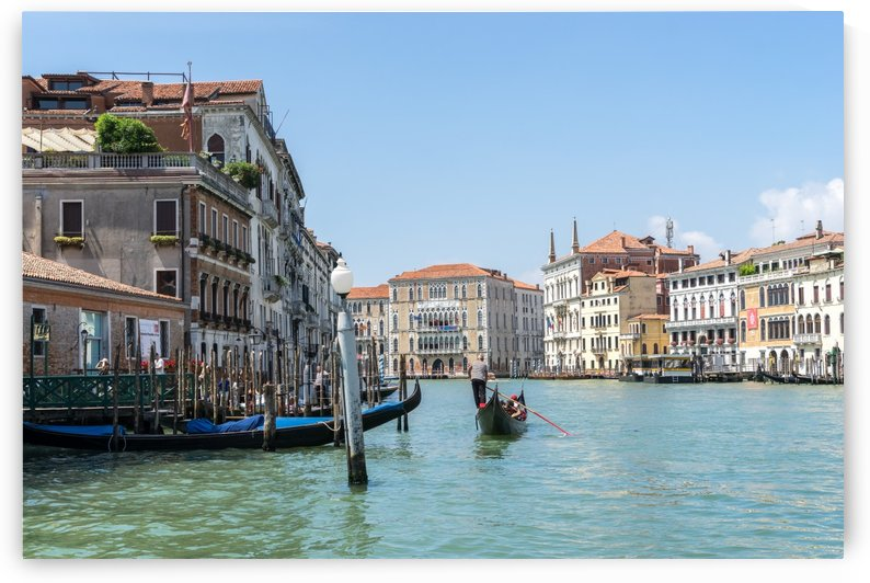 Classic Venetian - Palaces and Gondolas on the Grand Canal in Silky Aquamarine by GeorgiaM