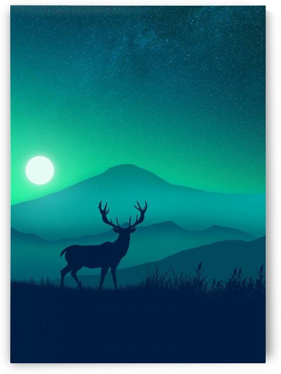 Flat Landscape Deer 2 by Masahiro Art
