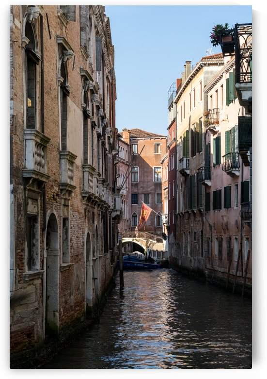 Classic Venetian - Republic of Venice Flag of Saint Mark over a Small Canal  by GeorgiaM