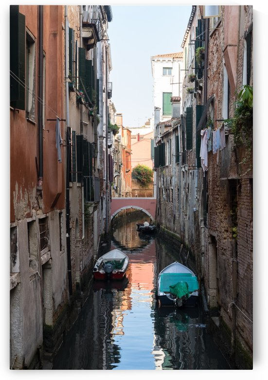 Classic Venetian - Pink Bridge Small Canal And Moored Motorboats by GeorgiaM