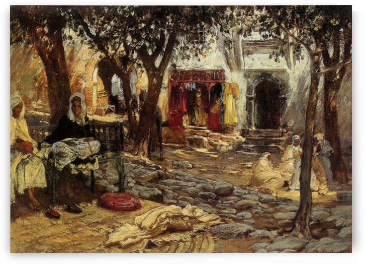 Arab courtyard by Frederick Arthur Bridgman
