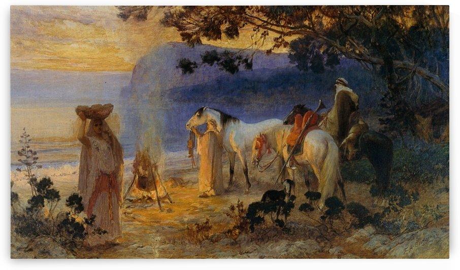On the coastline by Frederick Arthur Bridgman